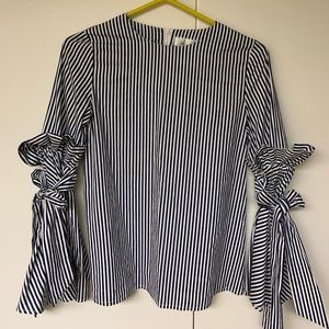 100% Cotton vertical navy & white pinstripe blouse